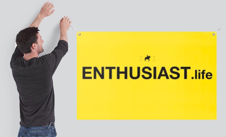 Enthusiast.life Banner with man holding